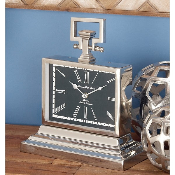 Contemporary Rectangular Stainless Steel Table Clock by Studio 350