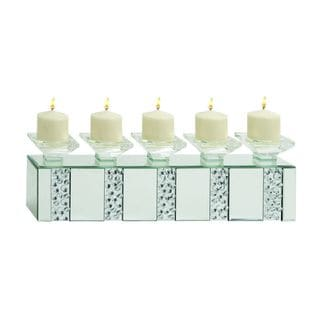 Mirrored Brick Glass Candle Holder