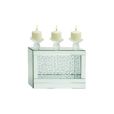 Silver Orchid Olivia Modern Reflections Mirror and Glass Candle Holder