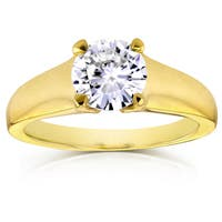 Annello by Kobelli 14k Yellow Gold 1 Carat Round Brilliant Diamond Solitaire Tapering Engagement Ring