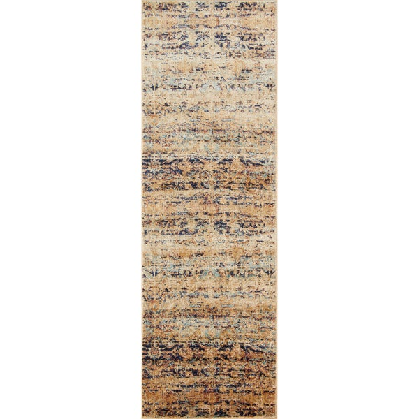 Traditional Sand/ Multi Floral Distressed Runner Rug - 2'7 x 10'