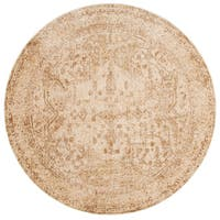 Traditional Ivory/ Light Gold Distressed Round Rug - 7'10 x 7'10