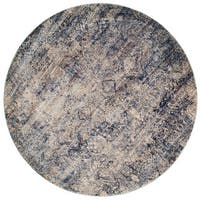 Traditional Mist/ Blue Distressed Round Rug - 7'10 x 7'10