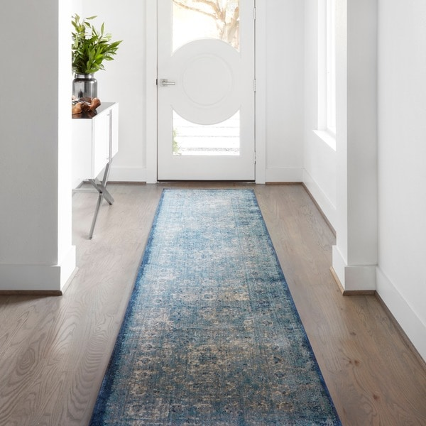 Traditional Light Blue/ Ivory Medallion Distressed Runner Rug - 2'7 x 12'