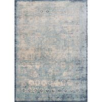 "Traditional Light Blue/ Ivory Medallion Distressed Rug - 2'7"" x 4'"