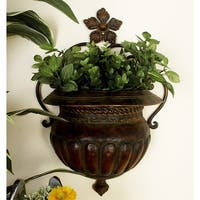 Traditional 18 Inch Dark Bronze Vase-Shaped Wall Planter by Studio 350