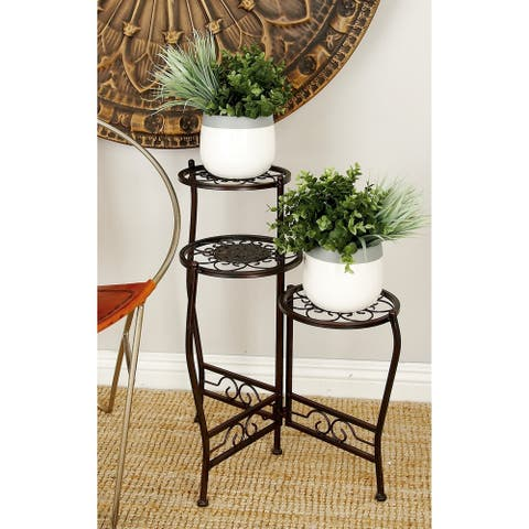 Modern 24 x 18 Inch Black Iron Plant Stand by Studio 350