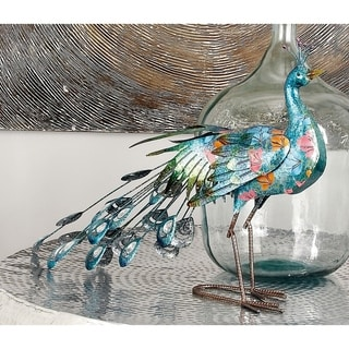 Blue/Green Metal 20-inches High x 31-inches Wide Peacock