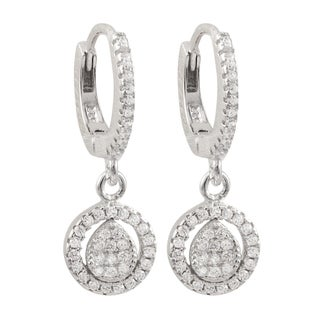 Luxiro Sterling Silver Pave Cubic Zirconia Hoop Dangle Earrings