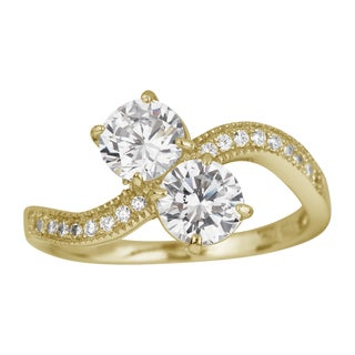 Decadence 14K Yellow Gold 6-miilimeter Round Two-stone Pave Wave Ring