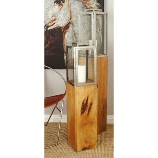 Wood Stainless Steel Glass Candle Lantern (9 inches W x 36 inches H)