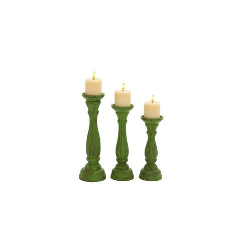 The Curated Nomad Jiminez Wood Candle Holders (Set of 3)
