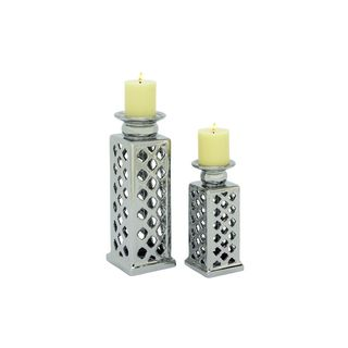 Silver Stone 10-inch, 14-inch Candle Holders (Set of 2)