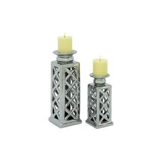 Set of 2 Ceramic Silver Lattice Candle Holders
