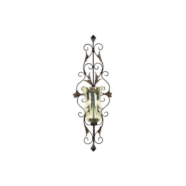 Metal and Glass 37-inch High x 13-inch Wide Candle Sconce