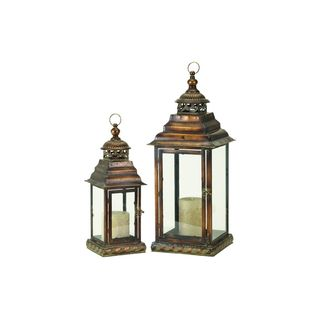 Brown Metal/Glass 18-inches High x 25-inches Lantern (Pack of 2)