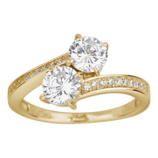Decadence 14K Yellow Gold 6mm Round Two Stone Solitaire Pave Ring