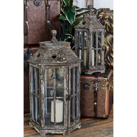 Wood and Glass Lanterns (Set of 2)