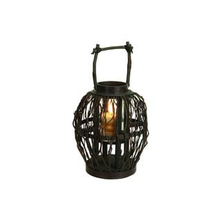 Brown Bamboo/Glass 10-inch Wide x 17-inch High Candle Lantern