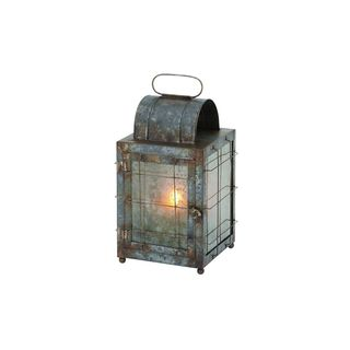 Distressed Gunmetal Glass Decorative Lantern