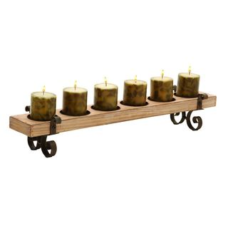Brown Wood and Metal 5-inch x 28-inch 6-light Candleholder