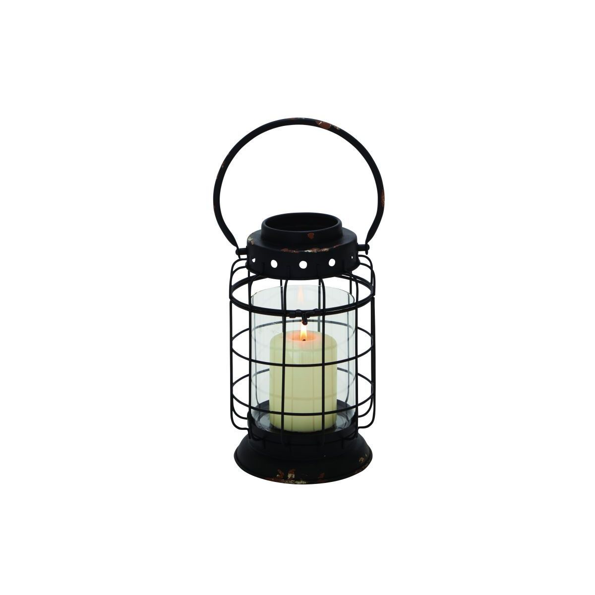 The Gray Barn Jartop Black/ Clear Metal/ Glass 8-inch x 15-inch Lantern