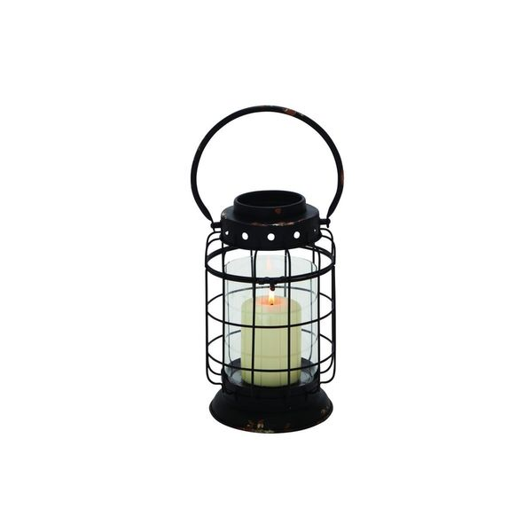 Black/Clear Metal/Glass 8-inch Wide x 15-inch High Lantern