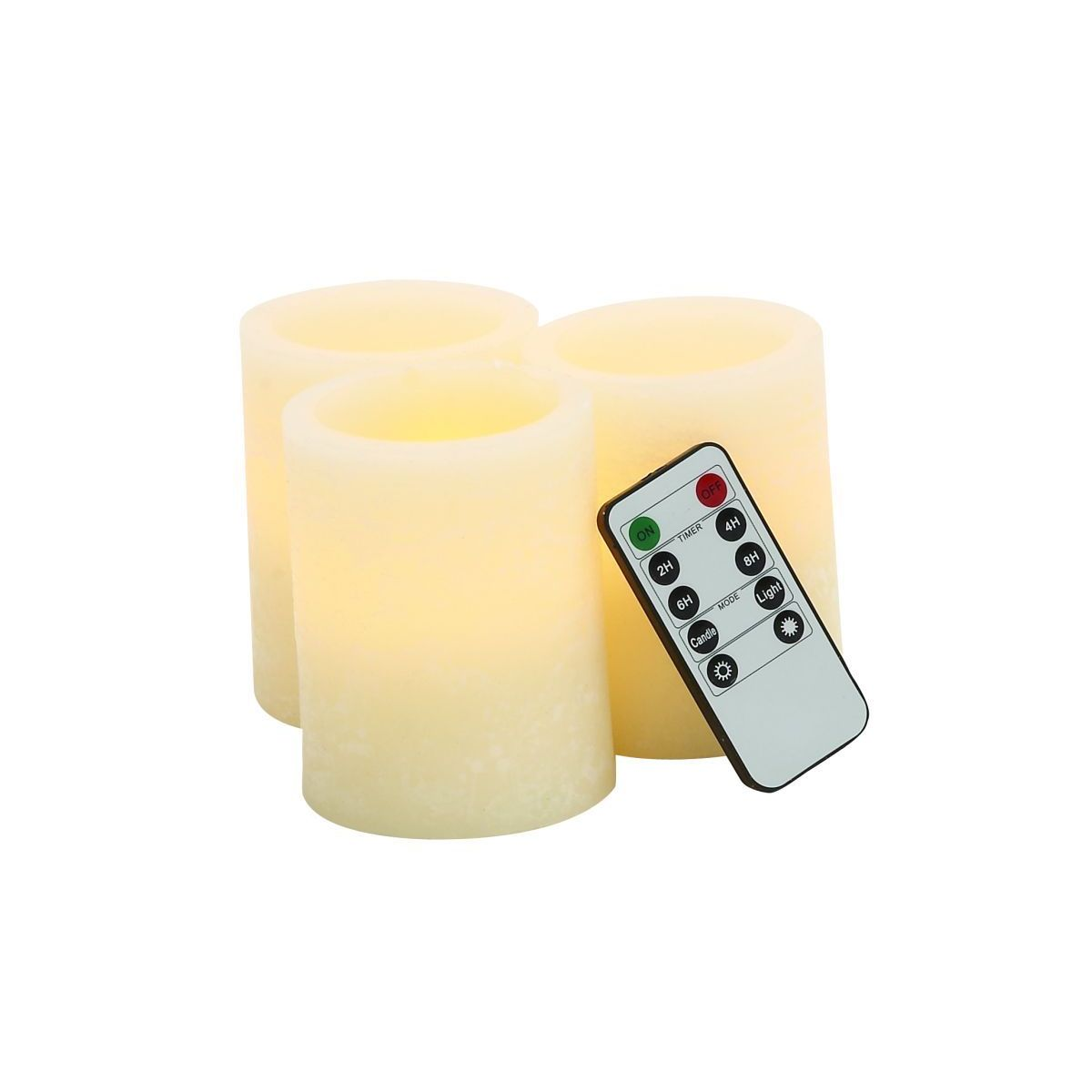Ivory Resin 3-inch Wide x 4-inch High LED Flameless Pillar Candles With Remote (Pack of 3)