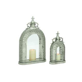 Metal/Glass 26-inch High, 18-inch High Lanterns (Set of 2)