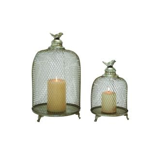 Silver-colored Iron Lanterns (Set of 2)