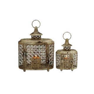 Set of 2 Distressed Finish Lattice Oval Candle Lanterns