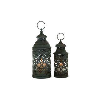 Iron Pierced Ring Design Round Candle Lanterns (Set of 2)