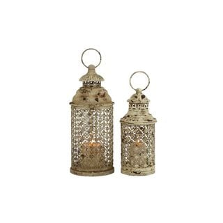 Set of 2 Distressed Iron Candle Lanterns
