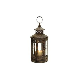 Metal and Glass 13-inch x 6-inch Lantern