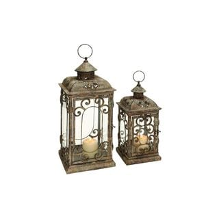 set of 2 Metal Glass 20-inch High, 15-inch High Lanterns