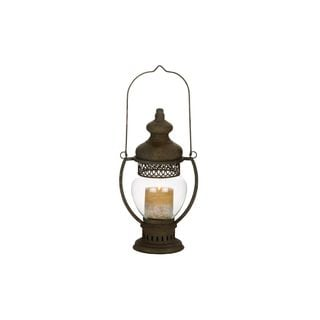 Metal Glass Lantern (14 inches H x 8 inches W)