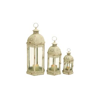 Distressed Ivory Iron/Glass 14-inch/20-inch/29-inch Candle Lanterns (Pack of 3)