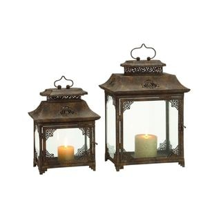 Brown Iron/Glass 2-piece 14- and 18-inch High Lantern Set