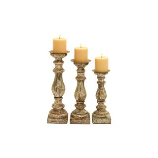 Wood 15-inch, 14-inch, 12-inch High Candle Holders (Set of 3)