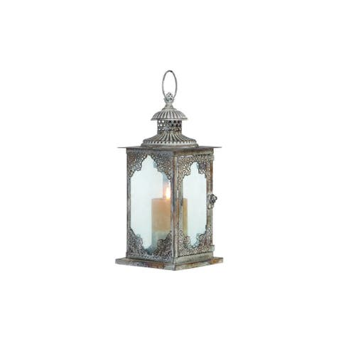 The Curated Nomad Jiminez Grey Metal/Glass 13-inch Lantern