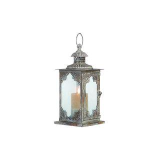 Rustic Elegance Grey Metal/Glass 13-inch Lantern