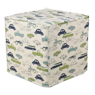 Retro Rides Felix Natural Square Seamed Foam Ottoman