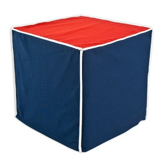 Red; White and Blue Square Corded Beads Ottoman