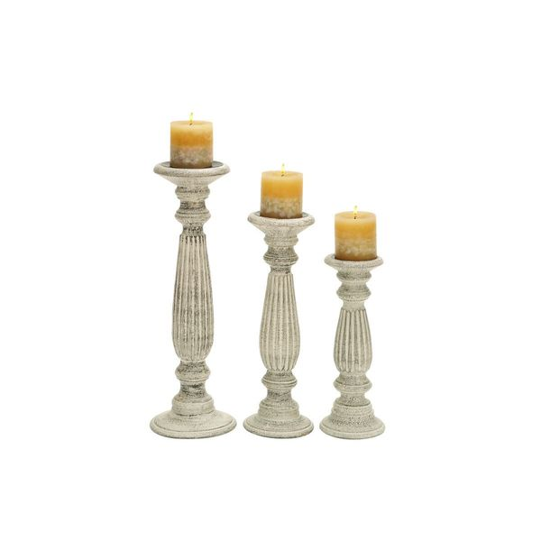 Traditional Wood Pillar Candle Holders (Set of 3)