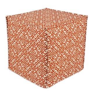 Lace It up Persimmon Square Seamed Foam Ottoman