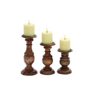 Chestnut-finish Wood 10-inches, 8-inches, and 6-inches High Candleholders (Pack of 3)