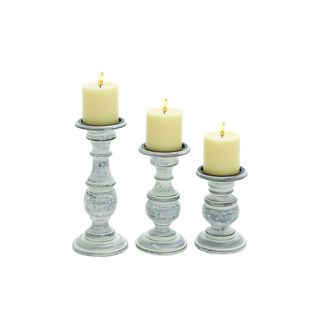 Distressed White Mango Wood 10-inches, 8-inches, and 6-inches High Candleholders (Pack of 3)