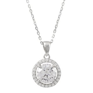 Luxiro Sterling Silver 8-mm Cubic Zirconia Halo Pendant Necklace