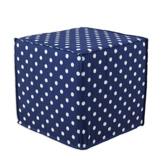 Ikat Dot Sunshine Blue-Natural Square Seamed Foam Ottoman