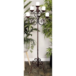 Rust Brown Metal 7 Arm Candelabra